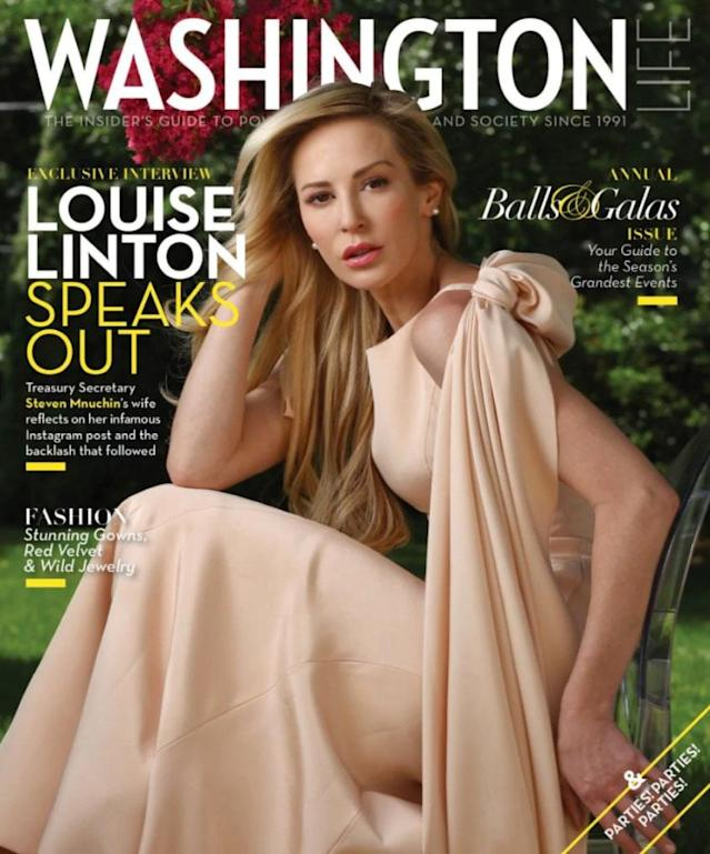 """Louise Linton appears in a ball gown while apologizing for her """"indefensible"""" Instagram rant. (Photo: Washington Magazine)"""