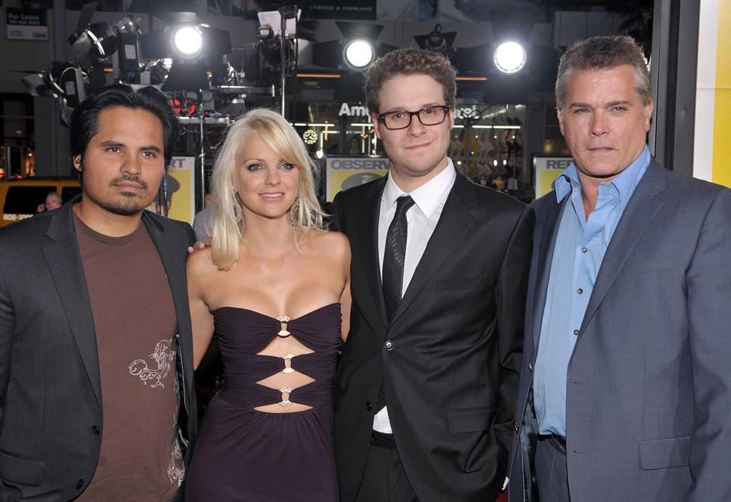 """<a href=""""http://movies.yahoo.com/movie/contributor/1800213841"""">Michael Pena</a>, <a href=""""http://movies.yahoo.com/movie/contributor/1800506130"""">Anna Faris</a>, <a href=""""http://movies.yahoo.com/movie/contributor/1804494942"""">Seth Rogen</a> and <a href=""""http://movies.yahoo.com/movie/contributor/1800023967"""">Ray Liotta</a> at the Los Angeles premiere of <a href=""""http://movies.yahoo.com/movie/1810025224/info"""">Observe and Report</a> - 04/06/2009"""