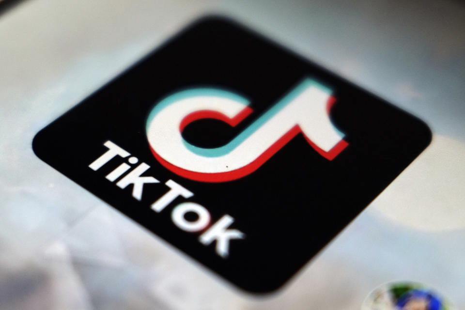 FILE - The TikTok app logo appears in Tokyo on Sept. 28, 2020. Many people have embraced cooking during the pandemic, when they've been home, bored, looking to try something new. TikTok was ready to fill the gap as a foodie paradise, and has seen more than 15 billion food posts. (AP Photo/Kiichiro Sato, File)