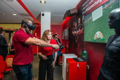 Former England Rugby player James Haskell takes a Virtual Reality drop kick at the opening of the Vodafone Business Lounge, Ricoh Arena, Coventry.