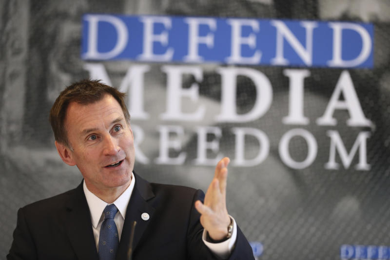 Britain's Foreign Secretary Jeremy Hunt speaks during a Foreign Ministers G7 meeting in Dinard, Brittany, Friday, April 5, 2019. Hunt has launched a media freedoms campaign alongside international human rights lawyer Amal Clooney from the sidelines of the Group of Seven foreign ministers' meeting in the French Atlantic resort of Dinard. (AP Photo/David Vincent)