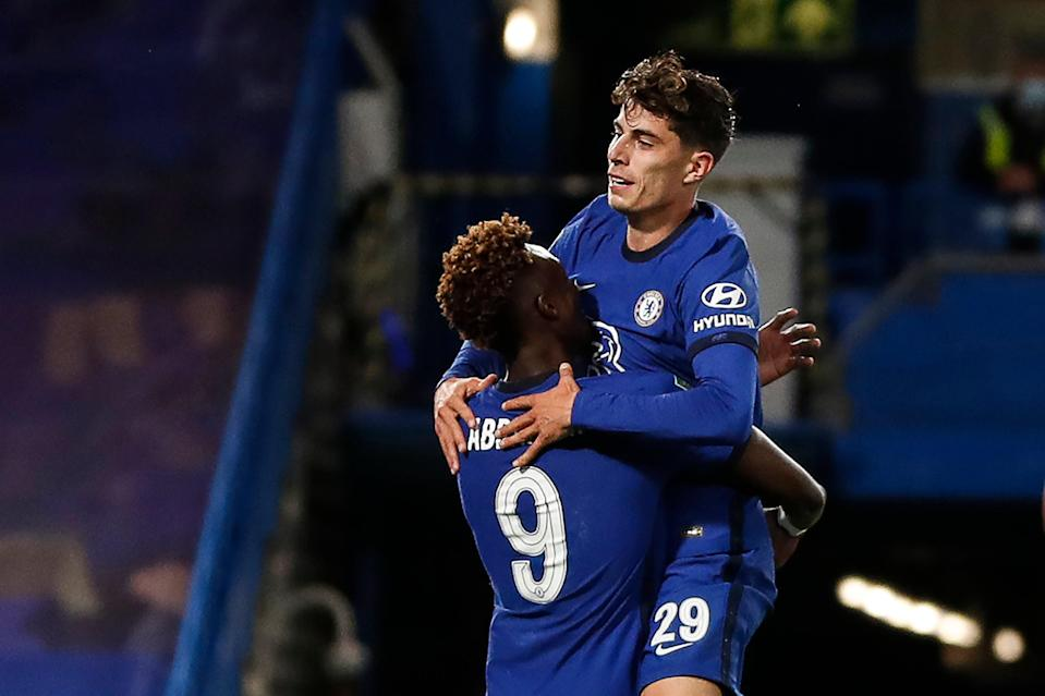 Tammy Abraham and Kai Havertz (right) both netted (AFP via Getty Images)