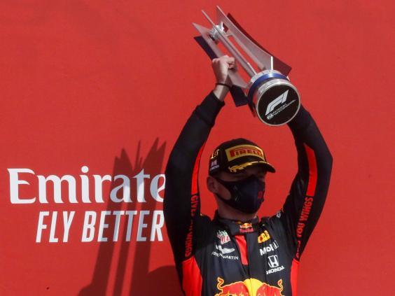 Verstappen clinched a surprise victory at the 70th Anniversary Grand Prix (EPA)