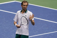 Daniil Medvedev, of Russia, reacts after defeating Pablo Andujar, of Spain, during the third round of the US Open tennis championships, Friday, Sept. 3, 2021, in New York. (AP Photo/Elise Amendola)