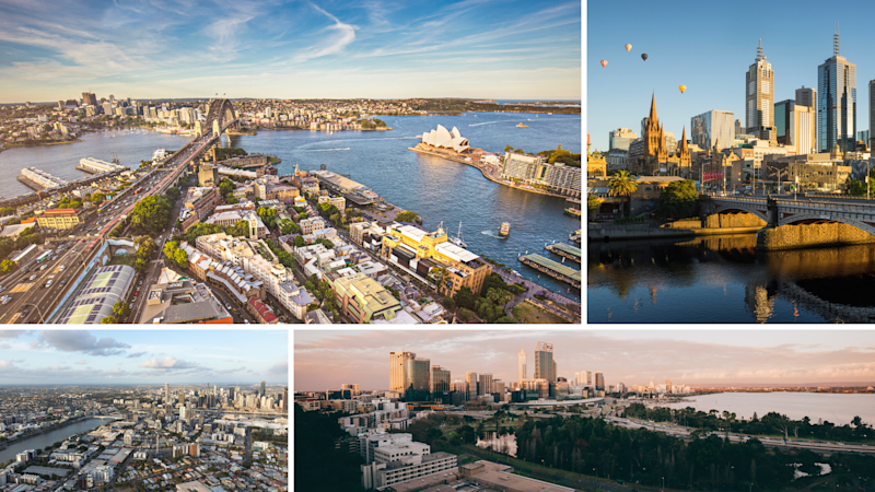 Clockwise: Sydney, Melbourne, Perth, Brisbane. (Source: Getty)