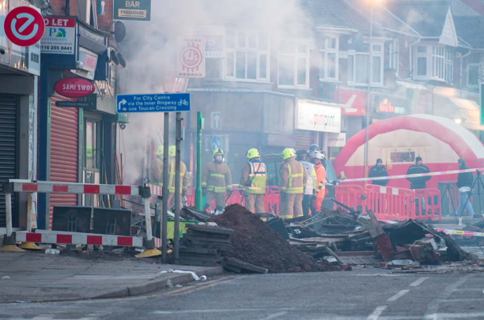 <em>Rubble lies on the floor this morning after last night's explosion (SWNS)</em>
