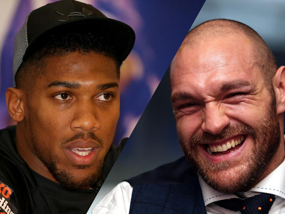 Anthony Joshua has challenged Tyson Fury to get in shape if he is to fight him: Getty