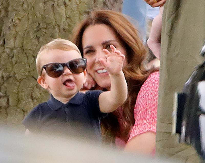 Prince Louis of Cambridge pictured playing with Catherine, Duchess of Cambridge at the polo