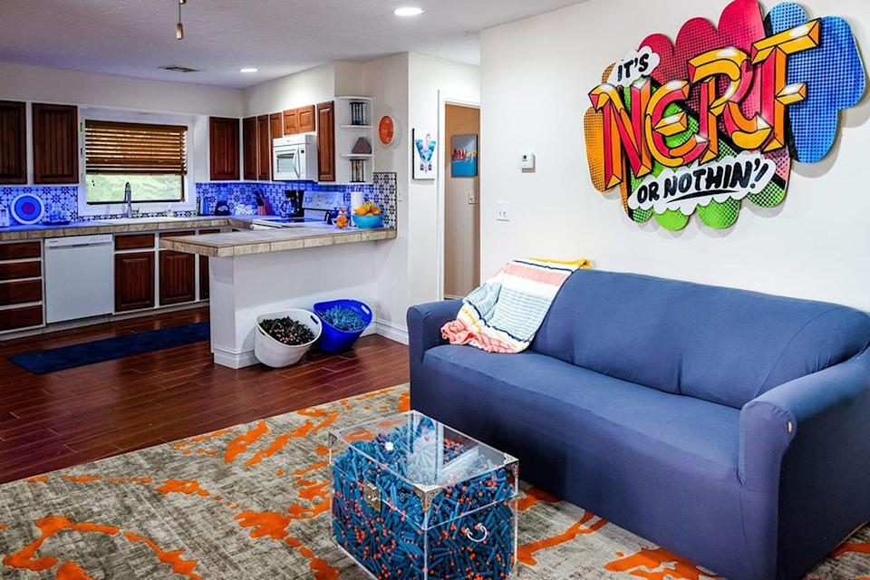 The living room at the Nerf House