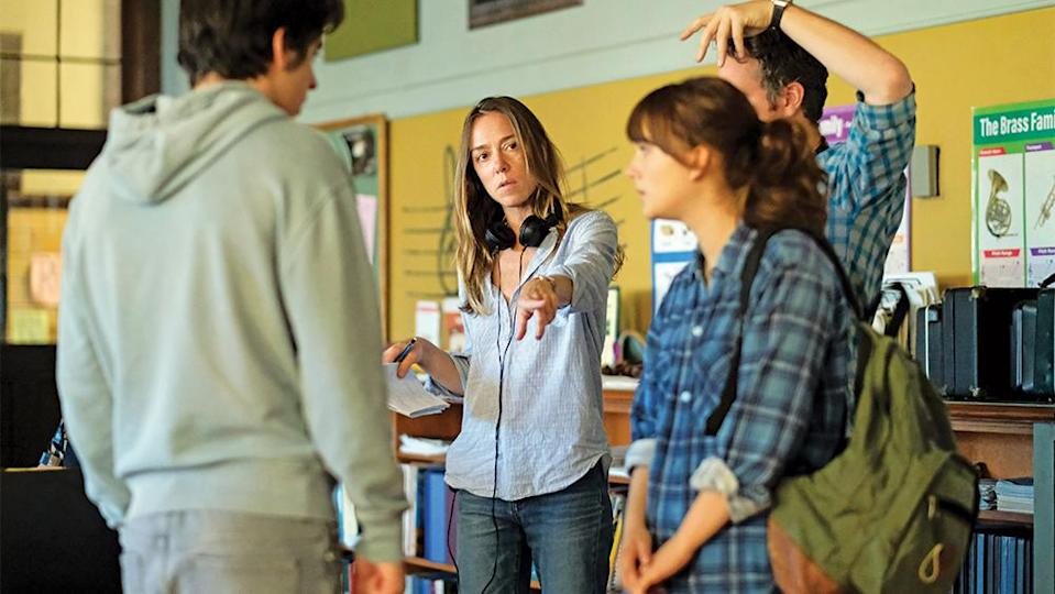 """Making Her Mark Sian Heder (center) directs Ferdia Walsh-Peelo and Jones on the set of """"CODA."""" - Credit: Mark Hill"""