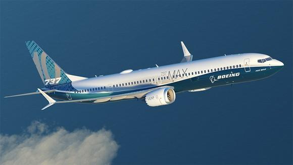 A rendering of a Boeing 737 MAX 10 in flight