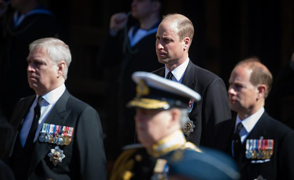 Prince Andrew, Duke of York. Prince William, Duke of Cambridge and Prince Edward, Earl of Wessex look on as the coffin of Prince Philip, Duke of Edinburgh arrives