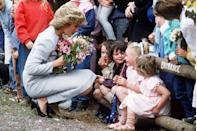 """<p>""""The royal family used to say that everyone had to be deferential to them,"""" <a href=""""https://abcnews.go.com/International/rebel-royal-mum-dianas-legacy-parent/story?id=19241646"""" rel=""""nofollow noopener"""" target=""""_blank"""" data-ylk=""""slk:says Ingrid Seward"""" class=""""link rapid-noclick-resp"""">says Ingrid Seward</a>, editor of <em>Majesty</em> magazine. """"But Diana said, 'If someone might be nervous of you or you're speaking to a very young child or a sick person, get yourself on their level.'""""</p>"""