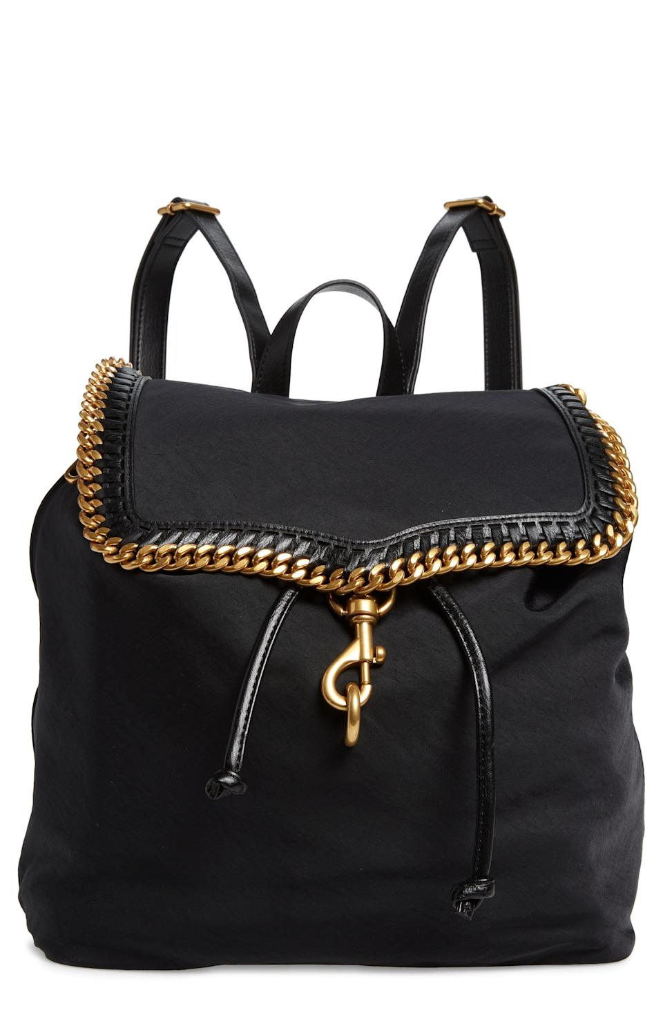 """<p><strong>Rebecca Minkoff</strong></p><p>nordstrom.com</p><p><strong>$136.80</strong></p><p><a href=""""https://go.redirectingat.com?id=74968X1596630&url=https%3A%2F%2Fwww.nordstrom.com%2Fs%2Frebecca-minkoff-woven-chain-backpack%2F5904857&sref=https%3A%2F%2Fwww.elle.com%2Ffashion%2Fshopping%2Fg37873182%2Fnordstrom-fall-clothing-sale%2F"""" rel=""""nofollow noopener"""" target=""""_blank"""" data-ylk=""""slk:Shop Now"""" class=""""link rapid-noclick-resp"""">Shop Now</a></p><p>For those days when you need to haul your stuff around but want to look cute doing so, opt for this backpack. </p>"""