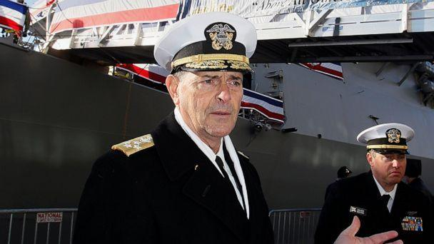 PHOTO: In this Dec. 1, 2018 file photo, Vice Chief of Naval Operations, Adm. William Moran describes the function of the USS Thomas Hudner prior to its commissioning ceremony in Boston. (Paul Connors/The Boston Herald via AP)