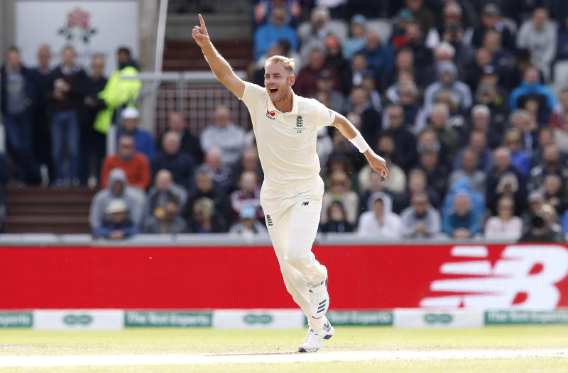 England's Stuart Broad celebrates the wicket of Australia's Travis Head during day two of the fourth Ashes Test at Emirates Old Trafford, Manchester. (Photo by Martin Rickett/PA Images via Getty Images)