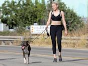 <p>Amber Heard takes her dog out for a hike on Tuesday.</p>