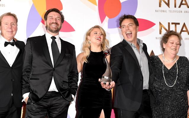 LONDON, ENGLAND - JANUARY 22: (L-R) Harry Redknapp, Nick Knowles, Emily Atack, John Barrowman and Anne Hegerty pose with The Bruce Forsyth Entertainment Award for I'm A Celebrity… Get Me Out Of Here! during the National Television Awards held at The O2 Arena on January 22, 2019 in London, England. (Photo by Stuart C. Wilson/Getty Images)