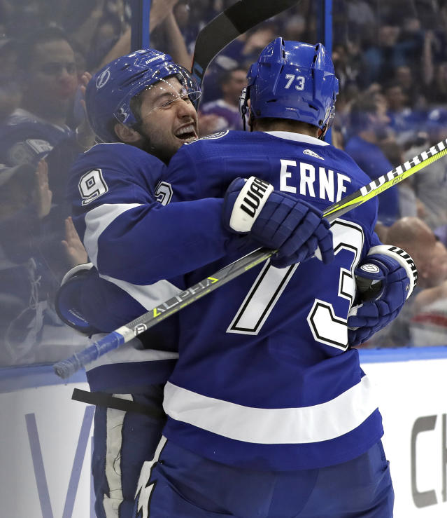 Tampa Bay Lightning center Tyler Johnson (9) celebrates his goal against the Carolina Hurricanes with left wing Adam Erne (73) during the second period of an NHL hockey game Tuesday, Oct. 16, 2018, in Tampa, Fla. (AP Photo/Chris O'Meara)
