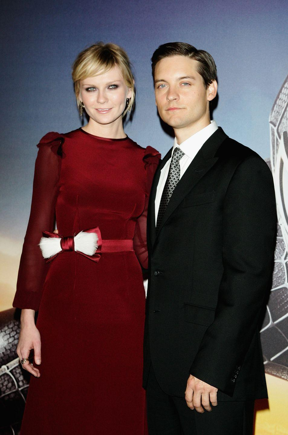 "<p>Tobey Maguire and Kirsten Dunst's upside-down Spider-Man smooch was the kiss that launched a thousand parodies, from <em>Saturday Night Live</em> to <em>The O.C</em>. But turns out the reality behind the iconic scene was less romantic than it seemed in cinemas. </p><p>""I was hanging upside down, it was really late at night, it was raining, and the whole time I had rainwater running up my nose. Then, when Kirsten rolled back the wet mask, she cut off the air completely,"" Maguire <a href=""https://www.tmz.com/2007/04/07/maguire-kissing-dunst-was-no-picnic/"" rel=""nofollow noopener"" target=""_blank"" data-ylk=""slk:told Parade in 2007."" class=""link rapid-noclick-resp"">told <em>Parade</em> in 2007.</a></p>"