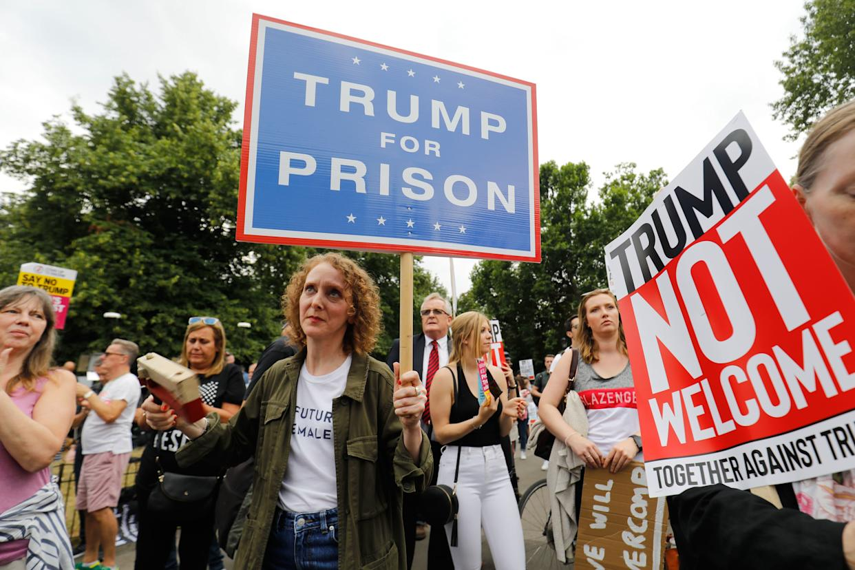 Protestersgathered near an entrance to the U.S. ambassador to the U.K.'s residence in London on July 12, 2018 as Trump arrived.