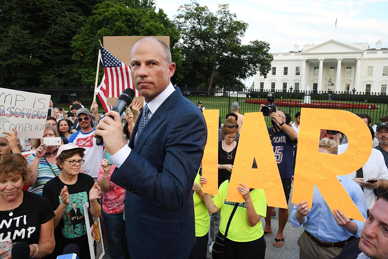 Attorney Michael Avenatti joins protesters outside the White House on July 17, 2018. (Photo: Mary F. Calvert/Reuters)