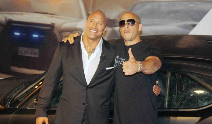 Dwayne Johnson and Vin Diesel cosy up at the Fast and Furious 5 premiere - Credit: WENN