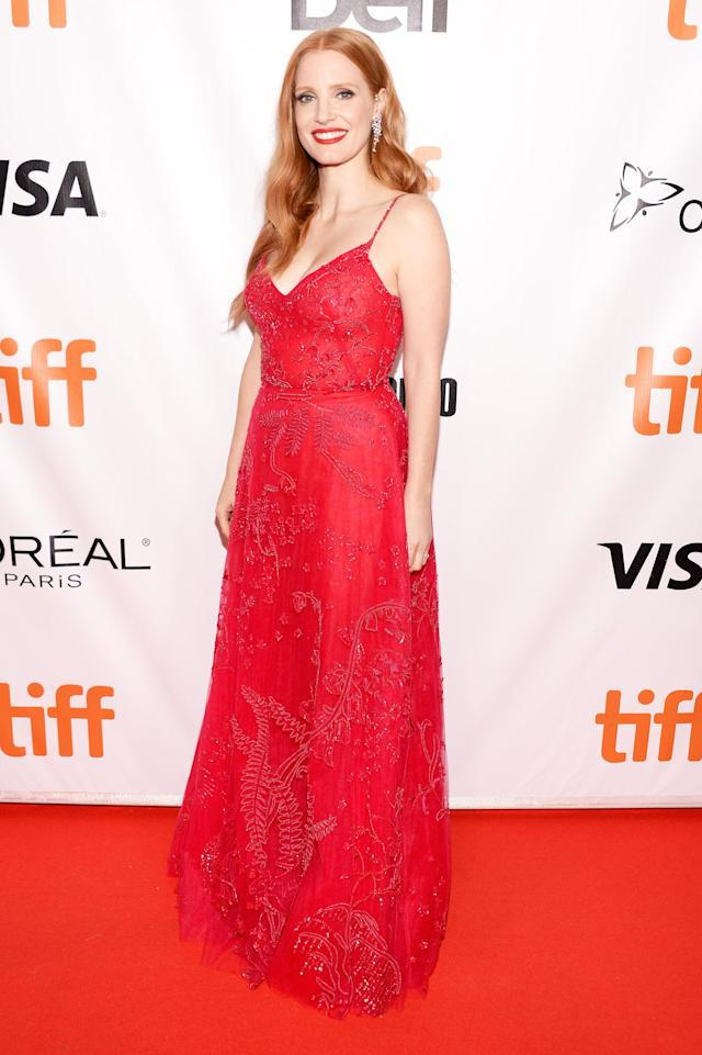 "<p><a href=""https://www.yahoo.com/movies/tagged/jessica-chastain"" data-ylk=""slk:Jessica Chastain"" class=""link rapid-noclick-resp"">Jessica Chastain</a> at the <a href=""https://www.yahoo.com/movies/tagged/toronto-film-festival"" data-ylk=""slk:2017 Toronto International Film Festival"" class=""link rapid-noclick-resp"">2017 Toronto International Film Festival</a> for <a href=""https://www.yahoo.com/movies/film/woman-walks-ahead"" data-ylk=""slk:Woman Walks Ahead"" class=""link rapid-noclick-resp""><em>Woman Walks Ahead</em></a>, on Sept. 10<br>(Photo: GP Images/Getty Images)<br><br></p>"
