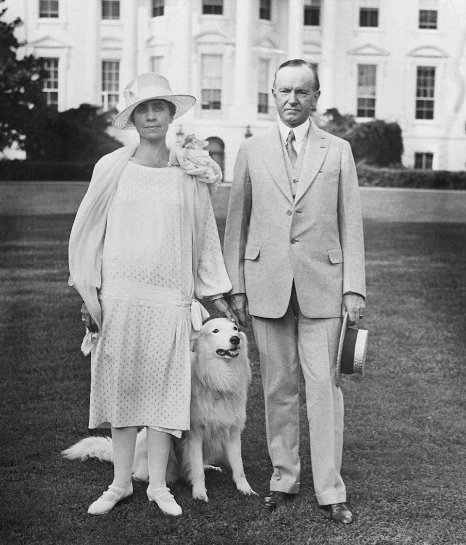 "<p>Compared to her partner, Grace Goodhue Coolidge liked to make a statement and vocalized that through her clothing. She often wore sleek shift dresses in bright colors with outlandish hats. According to the <a href=""https://americanhistory.si.edu/firstladies-interactive/the-fashionable-first-lady-text.html"" rel=""nofollow noopener"" target=""_blank"" data-ylk=""slk:National Museum of American History"" class=""link rapid-noclick-resp"">National Museum of American History</a>, her husband would surprise her and pick out her outfits. </p>"