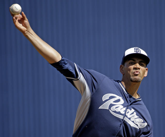 San Diego Padres' Tyson Ross throws before an exhibition spring training baseball game against the Milwaukee Brewers, Friday, March 7, 2014, in Phoenix. (AP Photo/Morry Gash)