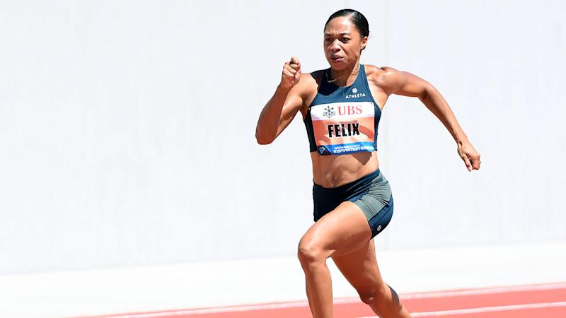 Pictured here, champion American sprinter Allyson Felix in action.