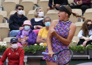United States's Sofia Kenin pcelebrates winning a point against United States's Jessica Pegula during their third round match on day 7, of the French Open tennis tournament at Roland Garros in Paris, France, Saturday, June 5, 2021. (AP Photo/Michel Euler)