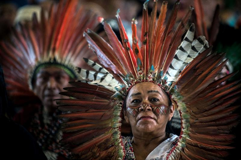 Members of indigenous communities from Peru, Brazil and Bolivia gathered for the assembly of the Amazonian church in Puerto Maldonado, Peru, ahead of Pope Francis' arrival on Thursday (AFP Photo/Ernesto BENAVIDES)