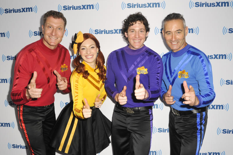 NEW YORK, NY - SEPTEMBER 10: Anthony Field, Lachlan Gillespie, Emma Watkins, and Simon Pryce of The Wiggles pose for a photo at the SiriusXM Studios on September 10, 2015 in New York City.