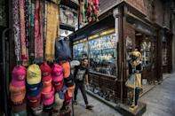 A shop selling replicas of ancient Egyptian statuettes, figurines, and canopic jars at the Khan el-Khalili bazaar area in Cairo
