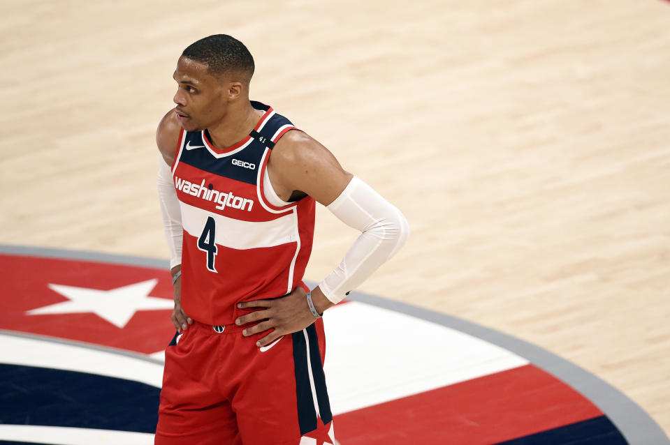 WASHINGTON, DC - APRIL 26: Russell Westbrook #4 of the Washington Wizards in action against the San Antonio Spurs in the second half at Capital One Arena on April 26, 2021 in Washington, DC.  NOTE TO USER: User expressly acknowledges and agrees that, by downloading and or using this photograph, User is consenting to the terms and conditions of the Getty Images License Agreement. (Photo by Patrick McDermott/Getty Images)