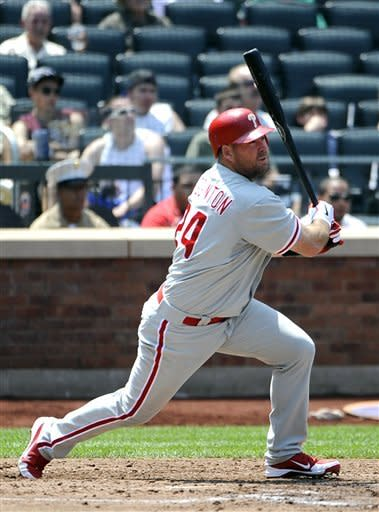 Philadelphia Phillies' Ty Wigginton hits a two-run double off of New York Mets starting pitcher Jonathon Niese in the third inning of a baseball game on Monday, May 28, 2012, at Citi Field in New York. (AP Photo/Kathy Kmonicek)