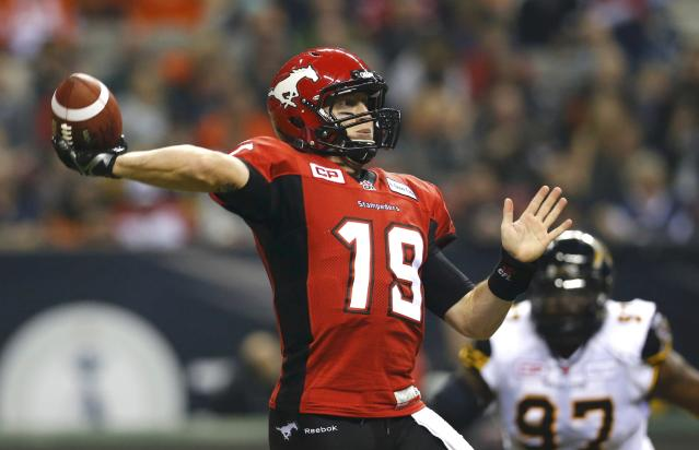 Calgary QB Bo Levi Mitchell did a great job of evading pressure Sunday, doing enough to lead the Stamps to a win. (Reuters.)