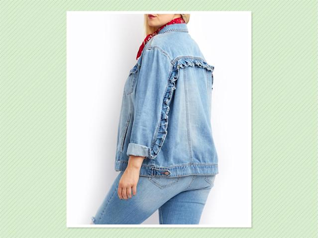"<p>Plus-Size Refuge Ruffle Trip Denim Jacket, $31, <a href=""http://www.charlotterusse.com/plus-size-refuge-ruffle-trim-denim-jacket/302397765.html?dwvar_302397765_color=468&cgid=#q=plus%2Bsize%2Bdenim%2Bjacket&lang=default&start=7"" rel=""nofollow noopener"" target=""_blank"" data-ylk=""slk:Charlotte Russe"" class=""link rapid-noclick-resp"">Charlotte Russe</a> (Photo: Charlotte Russe) </p>"