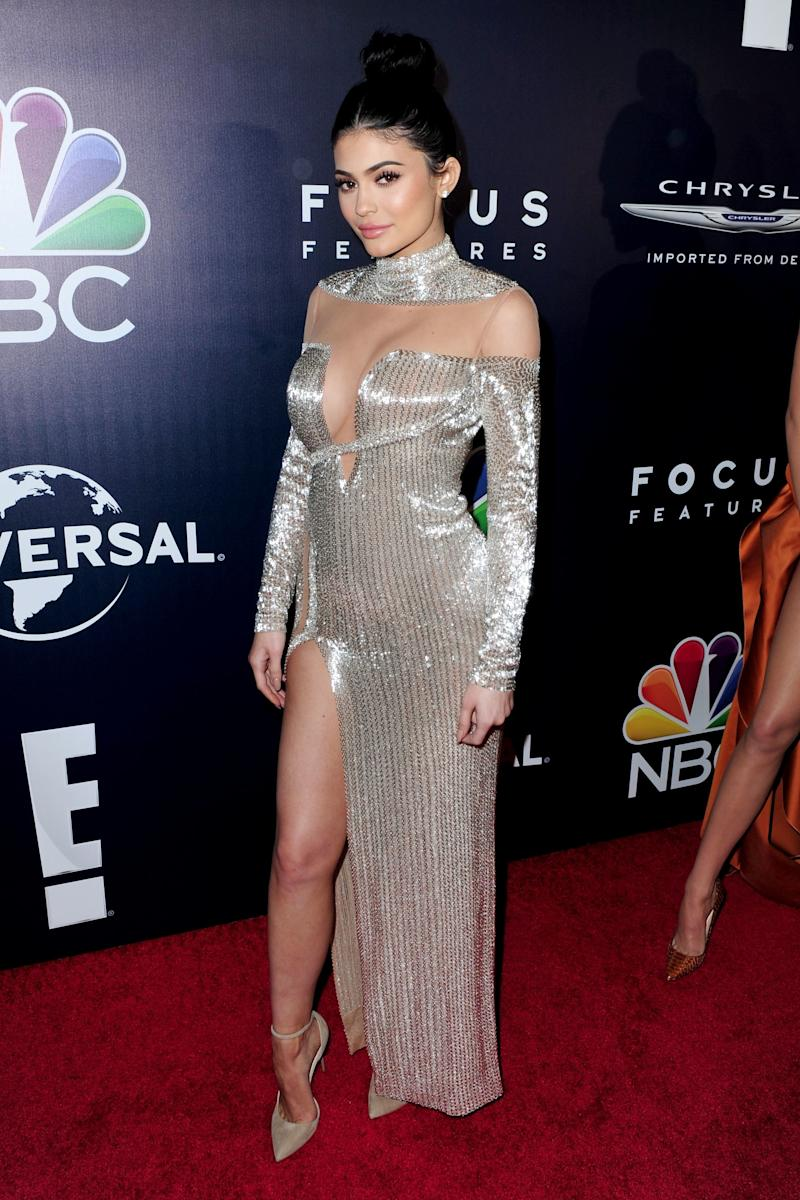 When you're a Kardashian, even the runway won't do —Jenner went custom once again for the Golden Globes in a silver Labour Joisie gown in Beverly Hills, California, January 2017.