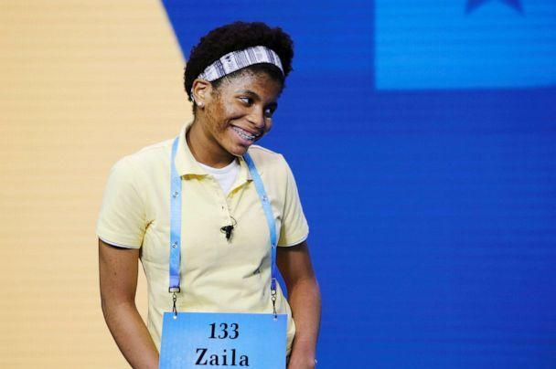 PHOTO: Zaila Avant-garde, 14, from New Orleans, reacts after correctly spelling a word during 2021 Scripps National Spelling Bee Finals at the ESPN Wide World of Sports Complex at Walt Disney World Resort in Lake Buena Vista, Fla., July 8, 2021. (Joe Skipper/Reuters)