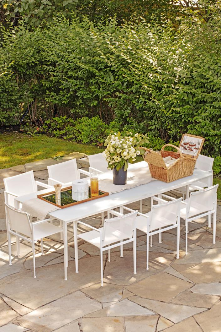 "<div class=""caption""> The property is ideally suited for alfresco entertaining. Table and chairs by Jasper Morrison for <a href=""https://www.kettal.com/"" rel=""nofollow noopener"" target=""_blank"" data-ylk=""slk:Kettal"" class=""link rapid-noclick-resp"">Kettal</a>. </div>"
