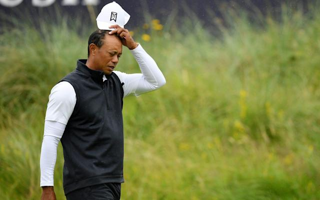 Tiger Woods struck an anguished figure through much of his two days at Royal Portrush - Getty Images Europe