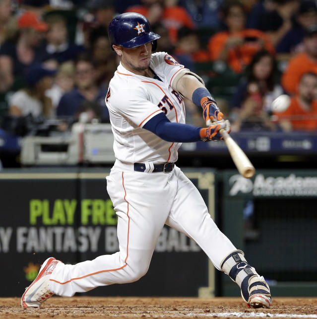 Houston Astros' Alex Bregman connects for a home run against the Los Angeles Angels during the sixth inning of a baseball game, Saturday, Sep. 1, 2018, in Houston. (AP Photo/Michael Wyke)