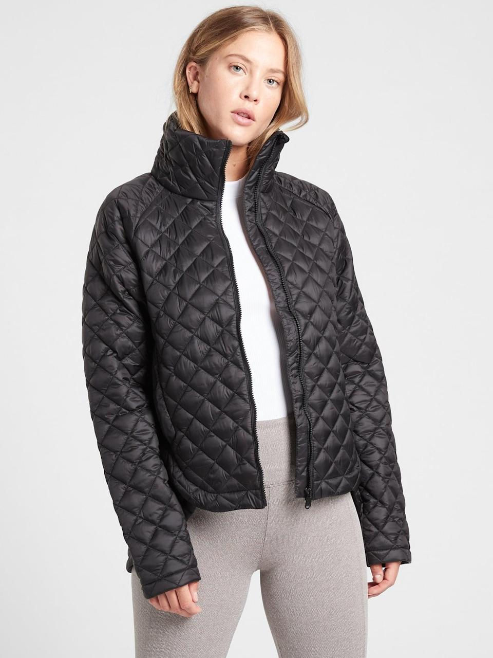 <p>They'll be obsessed with this <span>Athleta Whisper Featherless Jacket</span> ($199).</p>