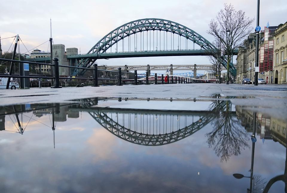 Empty streets and pavements on the Quayside in Newcastle upon Tyne the morning after Prime Minister Boris Johnson set out further measures as part of a lockdown in England in a bid to halt the spread of coronavirus.