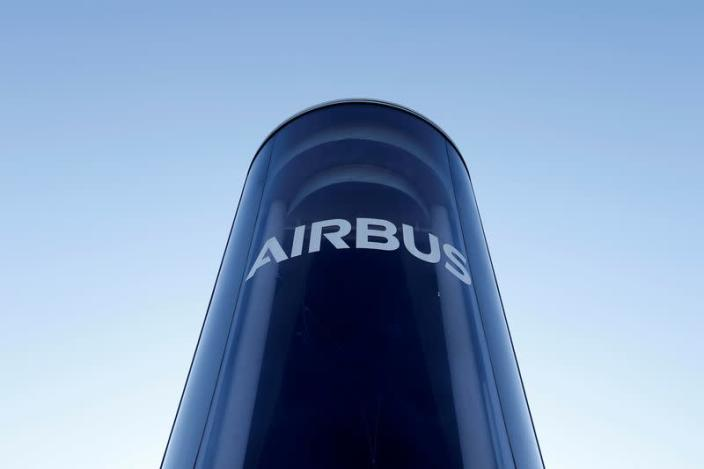 FILE PHOTO: The Airbus logo is pictured at Airbus headquarters in Blagnac near Toulouse