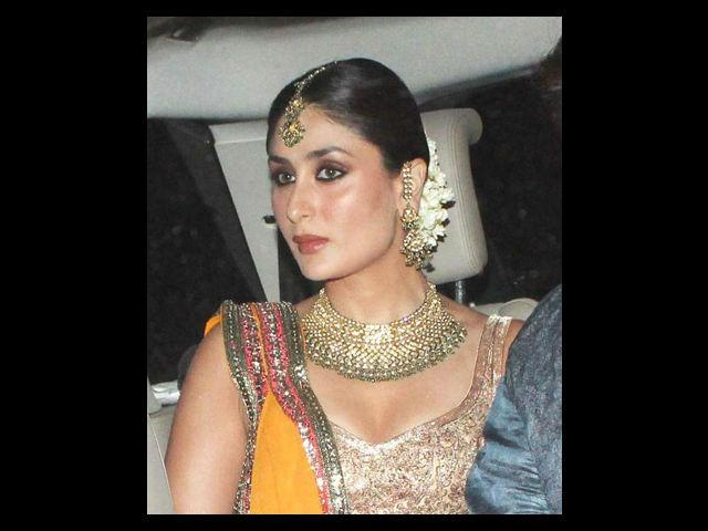 Kareena looked resplendent not just on her wedding but also on the celebrations around it. On her Sangeet, she was glowing in a yellow-gold lehenga designed by her best friend Manish Malhotra. With heavy jewellery and her hair neatly set in a bun, the look made her a sure head turner.