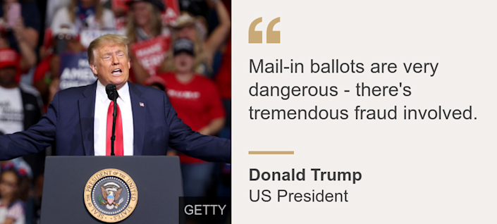 """Mail-in ballots are very dangerous - there's tremendous fraud involved."", Source: Donald Trump, Source description: US President, Image:"