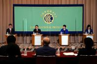 Candidates for the presidential election of the ruling Liberal Democratic Party attend a debate session held by Japan National Press Club